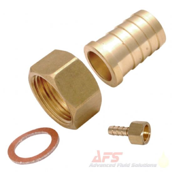 Brass BSP Flat Seal Swivel Female x Barbed Hose Tail Fittings